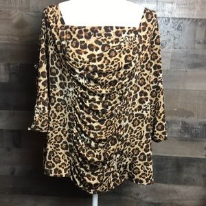Dots animal leopard print long sleeve top sz 3x